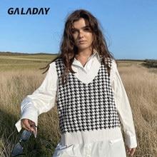 Surdimensionné mode femmes tricot gilet pull pied-de-poule imprimer en vrac col en v sans manches évents latéraux Chic hauts gilet femme automne