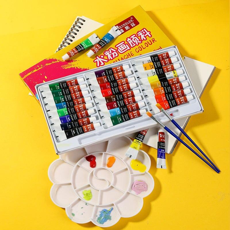 Gouache Paint 12/18/24 Colors Gouache Paint Set 7ML Gouache Tube Pigment with Paint Brush for Artist Student School/Art Supplies