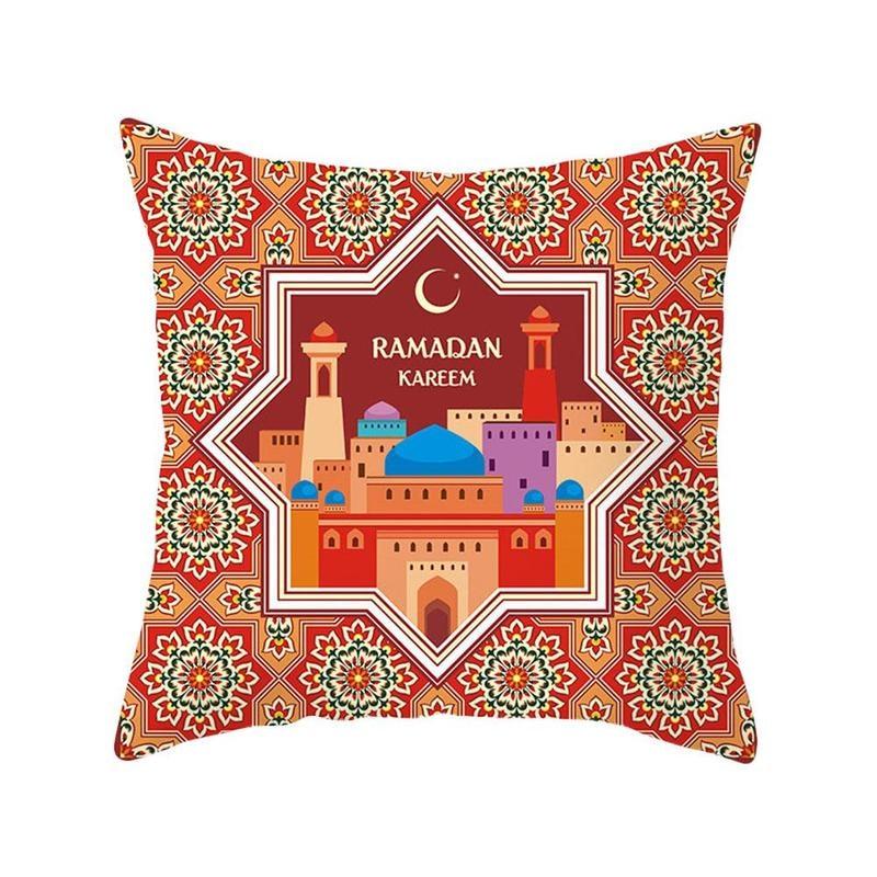 Cotton Ramadan Mubarak Cushion Cover Eid Mubarak Decoration 45x45cm Muslim Happy Supplies Party Favors Eid Islamic Party Z9K3