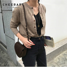 Cheerart C.H.I.C Cardigan Women Korean Sweater Cable Knit Casual Knitted Button Up Brown Cardigan Outerwear Kardigan
