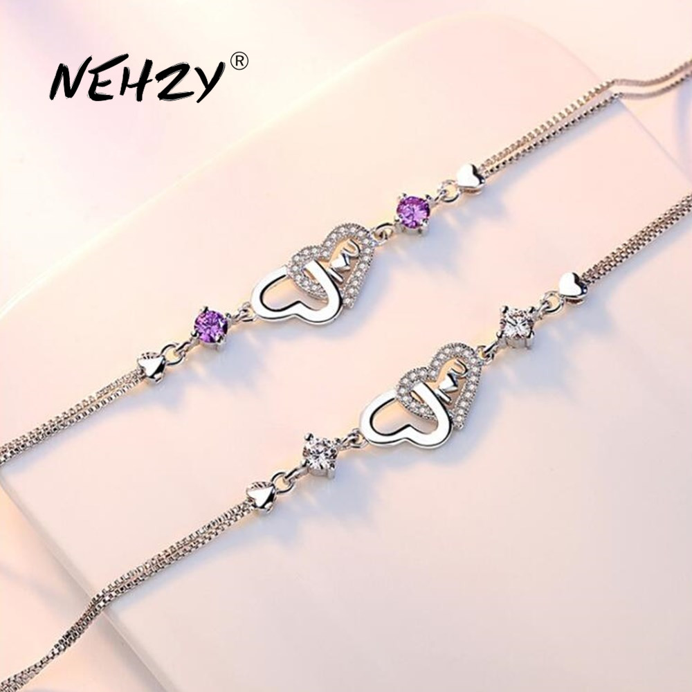 NEHZY 925 sterling silver new jewelry high quality fashion woman heart-shaped purple cubic zirconia simple bracelet length 20CM