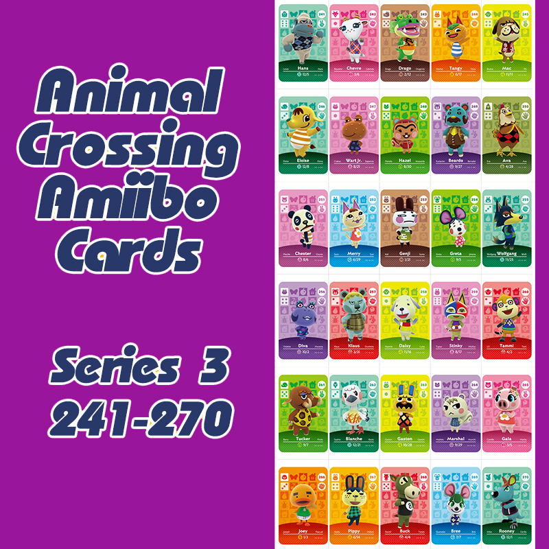Animal Crossing New Horizons Amiibo Card For NS Switch 3DS Game Lobo Card Set Series 3 (241-270)