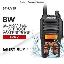 Di alta Qualità Baofeng UV 9R Plus. Walkie Talkie IP68 Impermeabile 8 W 10KM Gamma Dual Band UHF VHF A Due Vie radio Comunicador Scanner