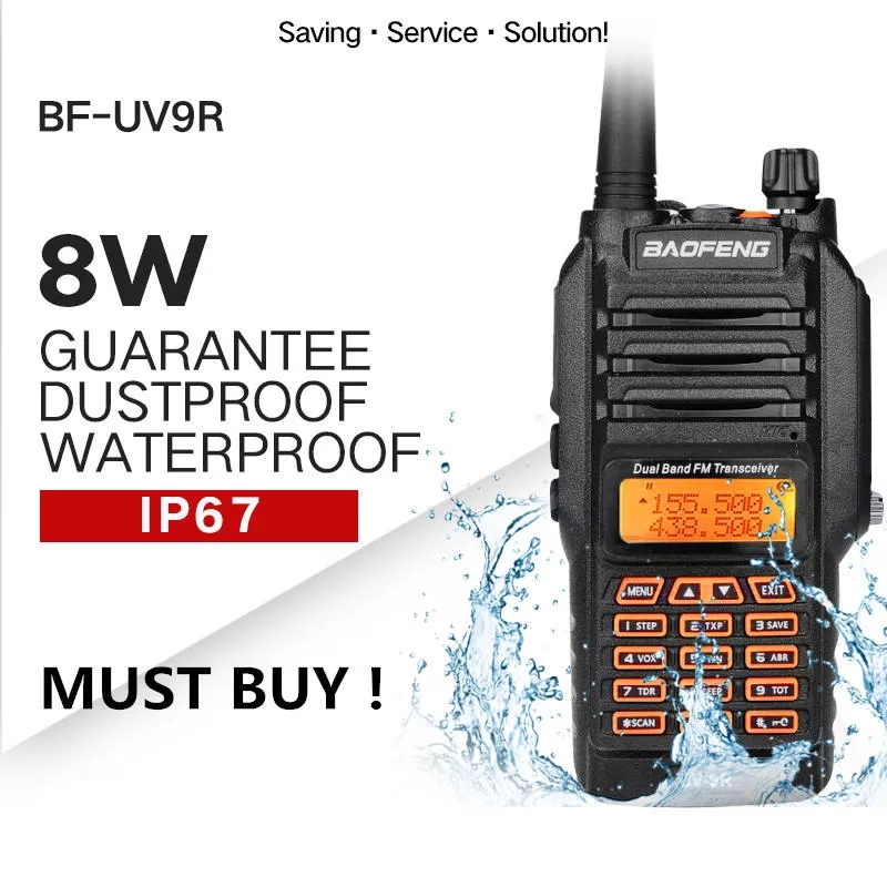 High Quality Baofeng UV-9R Plus Walkie Talkie IP68 Waterproof 8W 10KM Range Dual Band UHF VHF Two Way Radio Comunicador Scanner