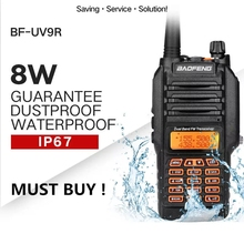 High Quality Baofeng UV 9R Plus Walkie Talkie IP68 Waterproof 8W 10KM Range Dual Band UHF VHF Two Way Radio Comunicador Scanner