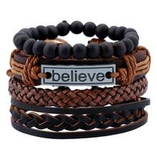 Hot Sale Vintage Multi-layer Leather Bracelet Male Believe Letter Brace