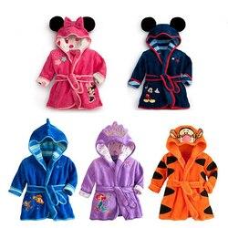 Детская Пижама с Минни Маус, детская теплая Пижама с Микки Маусом, пижама с русалочкой для мальчиков и девочек, Фланелевая пижама с тигровым ...