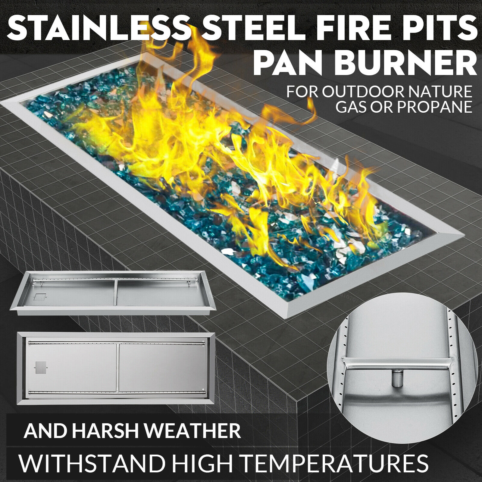 Drop-In Fire Pit Pan W/Burner 36x12 Inch Rectangular Natural Gas Fireplace Parts