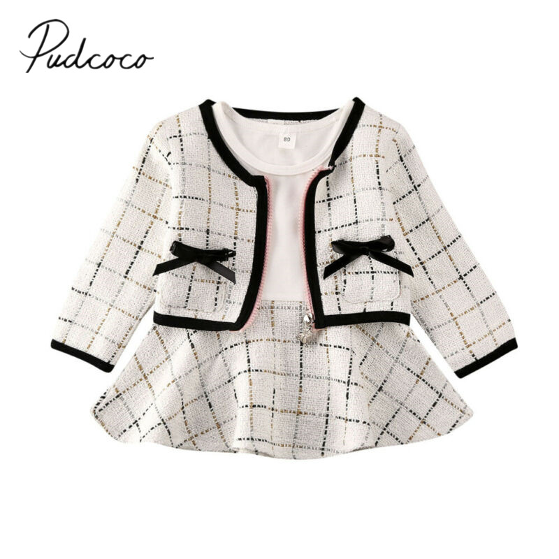 Toddler Baby Girl Formal Party Clothes Plaid Coat Tops+Tutu Dress Winter Outfits