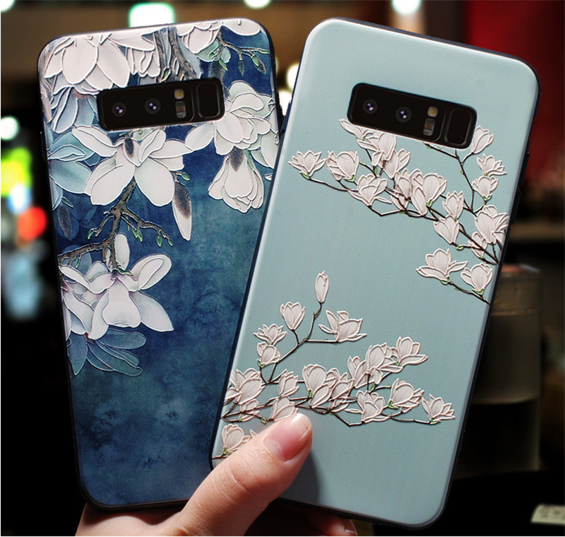 3D Emboss Flower Silicone Soft Back Cover Case For Samsung Galaxy A40 A 40 M30s A51 A50 A 50 A70 A80 A71 A30s A 30 S M21 Case