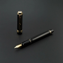 2020 Model Wing Sung 698 Fountain Pen Black Gold Clip Ink Pen F Nib Business Stationery Office School Supplies Writing Gift