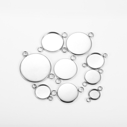 20pcs Stainless Steel  Round Double Loop Bezel  Cabochon Blanks  Bracelet PendantConnector Settings for Jewelry DIY
