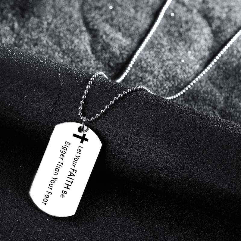Inspirational Gifts Stainless Steel Dog Tag Pendant Let Your Faith Be Bigger Than Your Fear Necklace Family Friends Jewelry Hot image