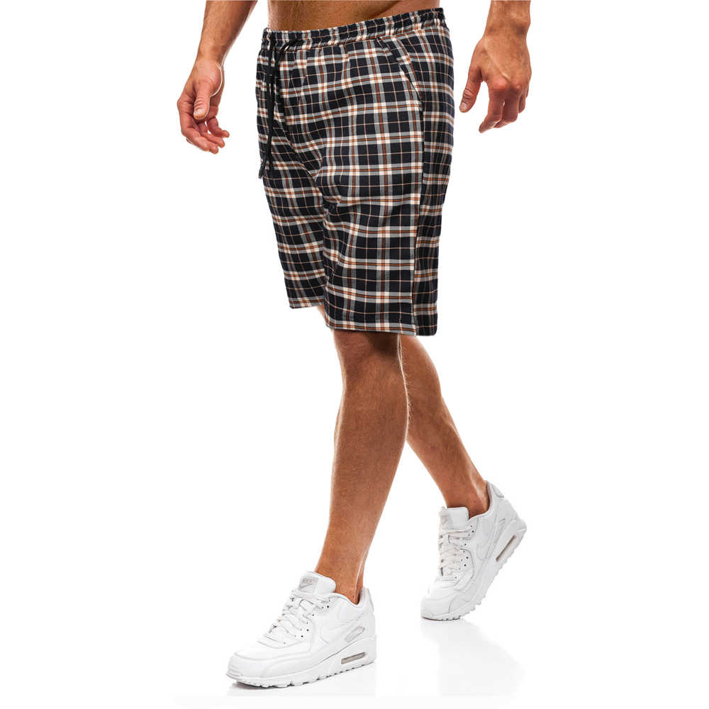 Casual Shorts Men 2020 Summer Plaid Capris Cotton Half Length Trousers Pocket Bermuda Male Vogue Elastic Waist Breeches Homme