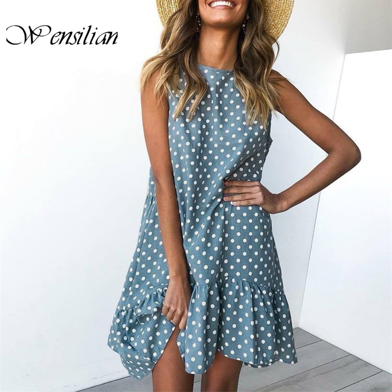 Wave Point Dresses Women Beach Dress Casual Summer Dress O Neck Ruffle Mini Dress Sexy Slim Boho Sundress Vestidos De Verano