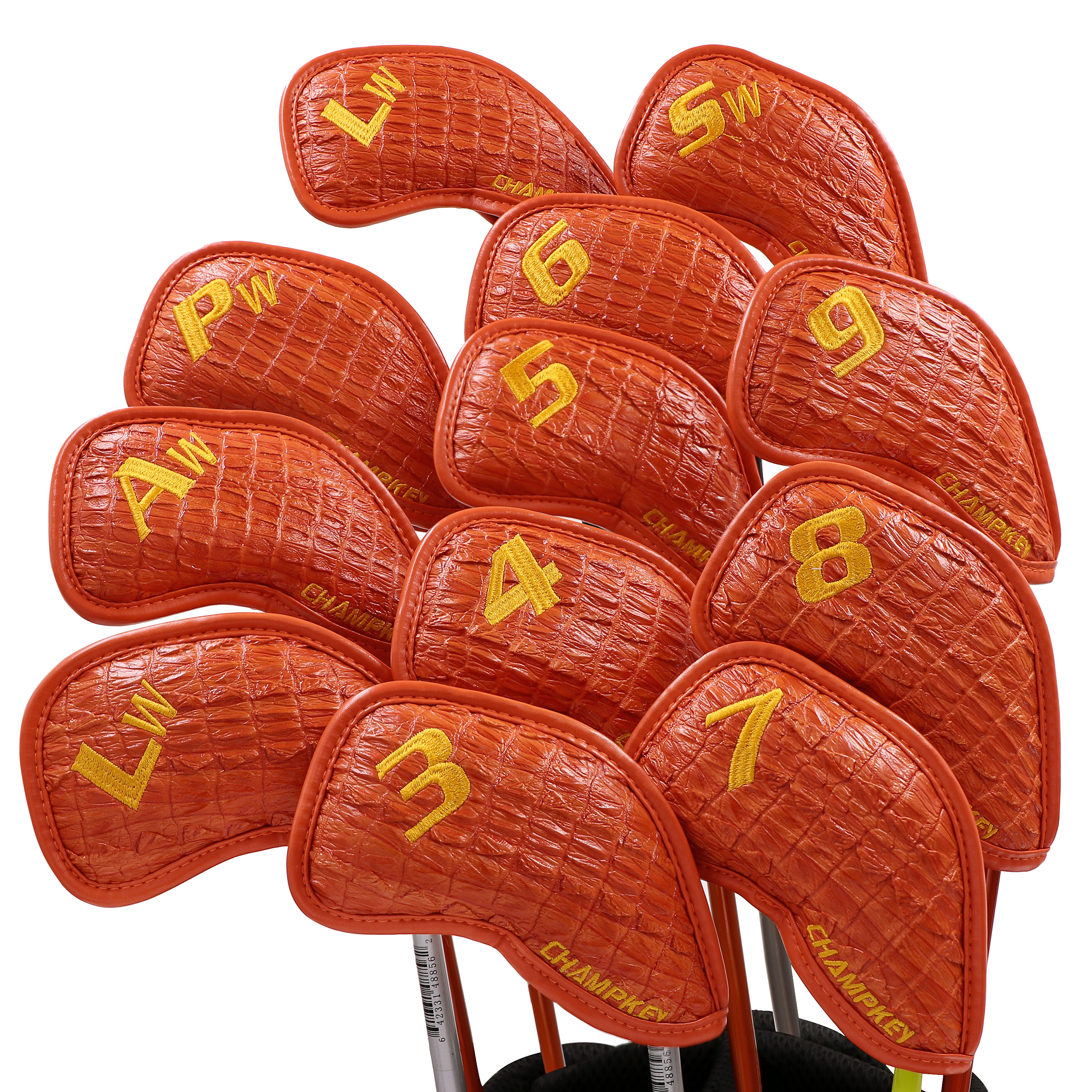 NEW Champkey Golf Iron Headcover Orange Color Snake Thick PU Artificial Leather Stylish Iron Club Head Cover