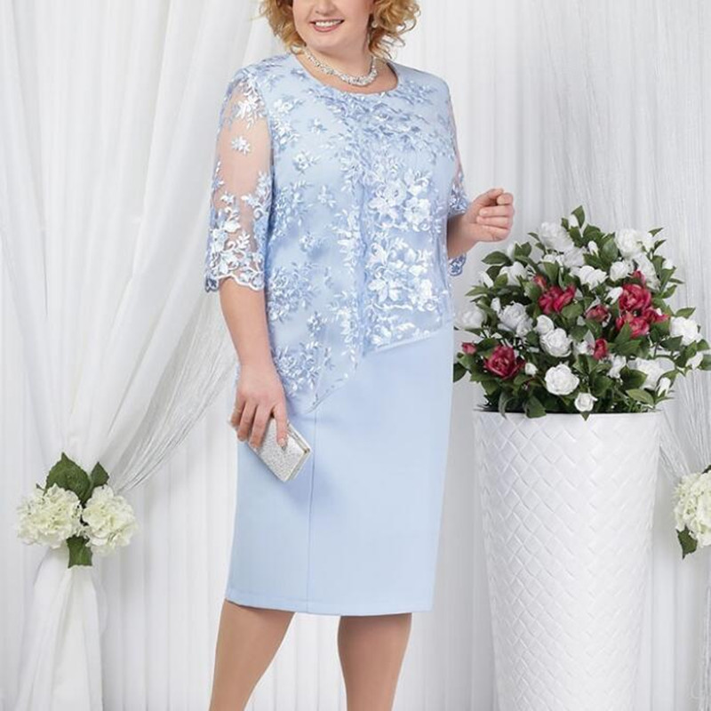 Dress Suits Women Fake Two Piece Elegant Mother Of The Bride Lace Dresses Big Plus Size 5XL Formal Wedding Guest Robe Wear 2020