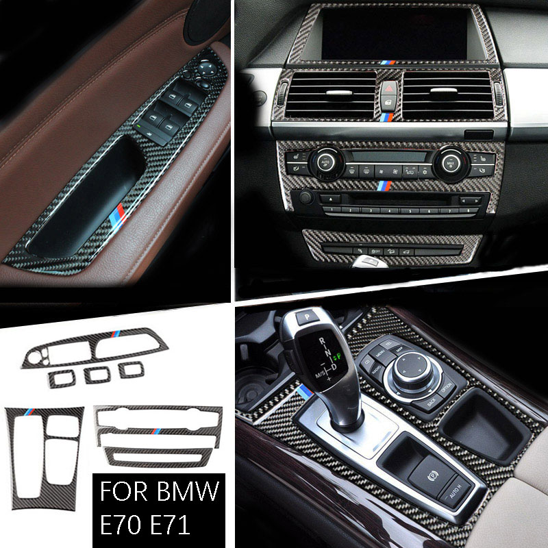 For BMW X5 X6 E70 E71 Carbon Fiber Car Interior Center Console CD AD Air Outlet Decorative Frame Cover Trim Car Styling 08-13