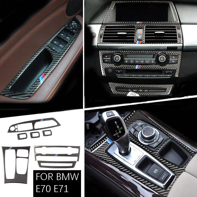 For BMW X5 X6 E70 E71 Carbon Fiber Car Interior Center Console CD AD Air Outlet Decorative Frame Cover Trim Car Styling 08-13