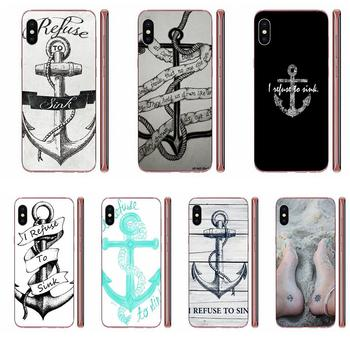 For Huawei Honor Mate 7 7A 8 9 10 20 V8 V9 V10 V30 P40 G Lite Play Mini Pro P Smart TPU Phone Coque I Refuse To Sink Anchor image