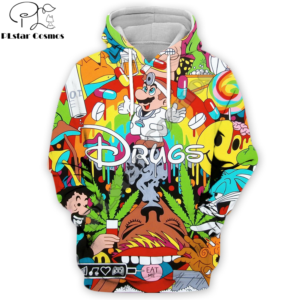 PLstar Cosmos 2019 Autumn Fashion 3d Hoodies Cartoon Super Mario 3D printed Sweatshirt/Zip Hoodies Funny drugs Pullovers