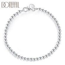 DOTEFFIL – Bracelet à perles lisses en argent Sterling 925, 4mm, bijoux à la mode pour femmes, breloque de fête de fiançailles et de mariage