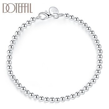 DOTEFFIL 925 Sterling Silver 4mm Smooth Beads Bracelet For Women Fashion Wedding Engagement Party Charm Jewelry doteffil 925 sterling silver grapes more beads charm bracelets jewelry for fashion women wedding engagement gift