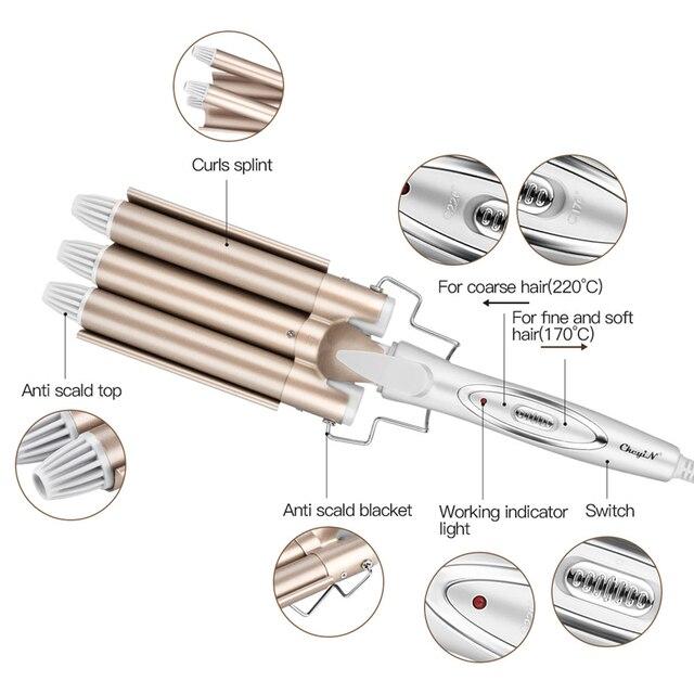 CkeyiN المهنية 3 برميل كبير ويفر بكرات الشعر الكهربائية بكرات ثلاثة الأنابيب المشتركة السيراميك الثلاثي برميل الياف الستائر المعدنية