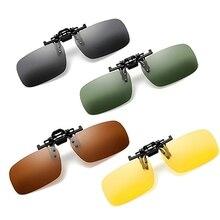 цена на Polarized Clip On Sunglasses Driving Night Vision Lens Sun Glasses Male Anti-UVA UVB For Men Women With Case & Glasses Cloth