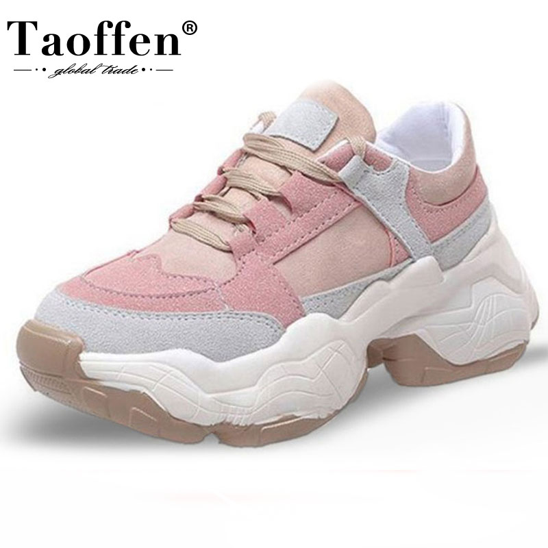 TAOFFEN Candy Colors 2019 Fashion Sneakers Vulcanized Shoes Women Young Lady Thick Bottom Walking Daily Club Sneaker Size 35-40