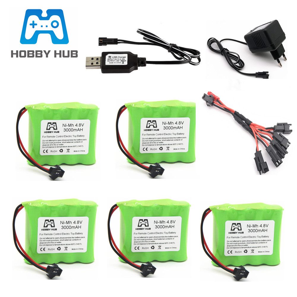4.8v 3000mah NiMH Battery And USB Charger For Rc Toys Cars Boats Guns Tanks Robots Ni-MH AA 4.8v 2400mAh Rechargeable Battery