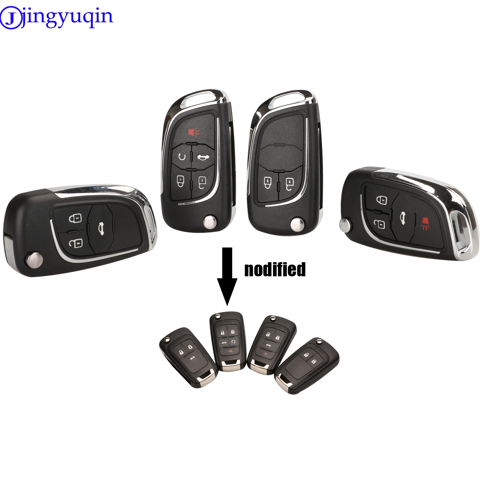 Jingyuqin Modified Folding Remote Car Key Shell Fob Case For Chevrolet Cruze Epica Lova Camaro Impala 2 3 4 5 Button HU100 Cover