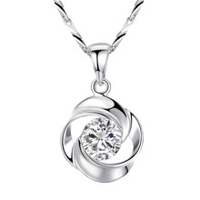 Sterling Silver Necklace Rose Petal Pendant Clavicle Chain Zircon Diamond Pendant for Women 18K Gold Plated 925 Box Chain Free(China)