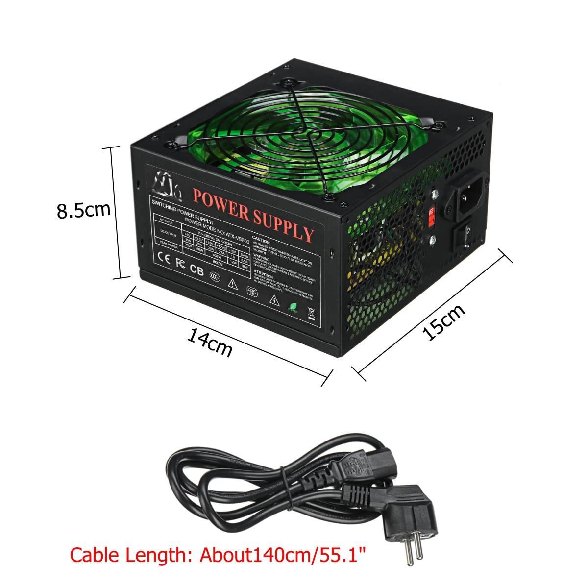 800W 110 ~ 220V Alimentation PC 12cm LED Ventilateur silencieux avec contrôle de température Intelligent Intel AMD ATX 12V pour ordinateur de bureau - 4