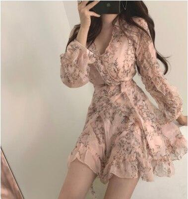 Women Mini Dress 2020 Spring New V-neck Floral Chiffon Dress High Waist Flare Sleeve Female Dress