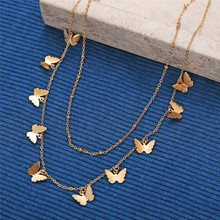 Female Alloy Multilayer Butterfly Necklace Women Gold Color Clavicle Chains Chain Necklaces Pendants Trendy Jewelry