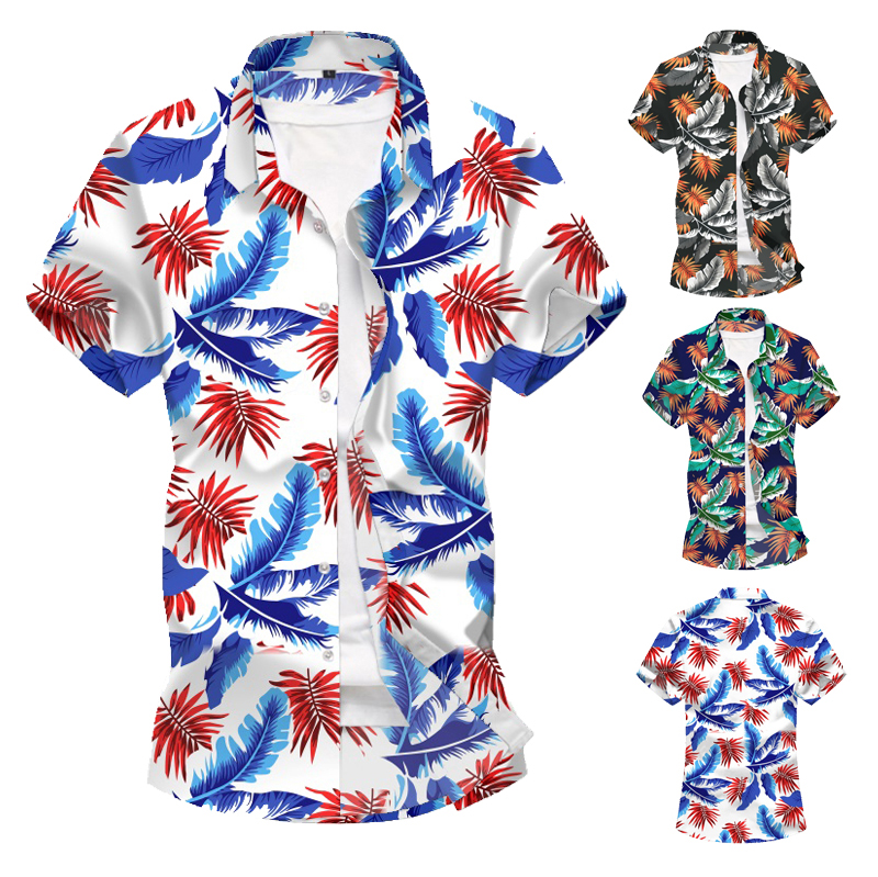 2020 Men's New Feathered 3D Printed Beach Shirt With Hawaiian Short-sleeved Floral Print