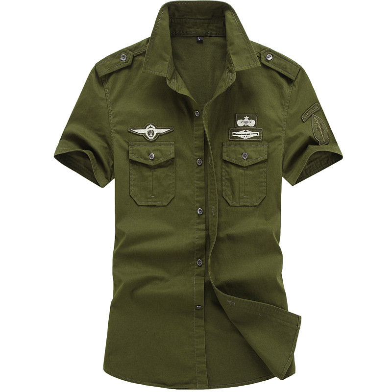 Men's Shirt Military Uniform Pure Cotton Military Brigade Men Short Sleeve Top
