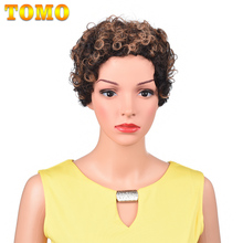 95%Human-Hair TOMO for White Black Women African Ombre Glueless Wigs Daily-Wear Curly
