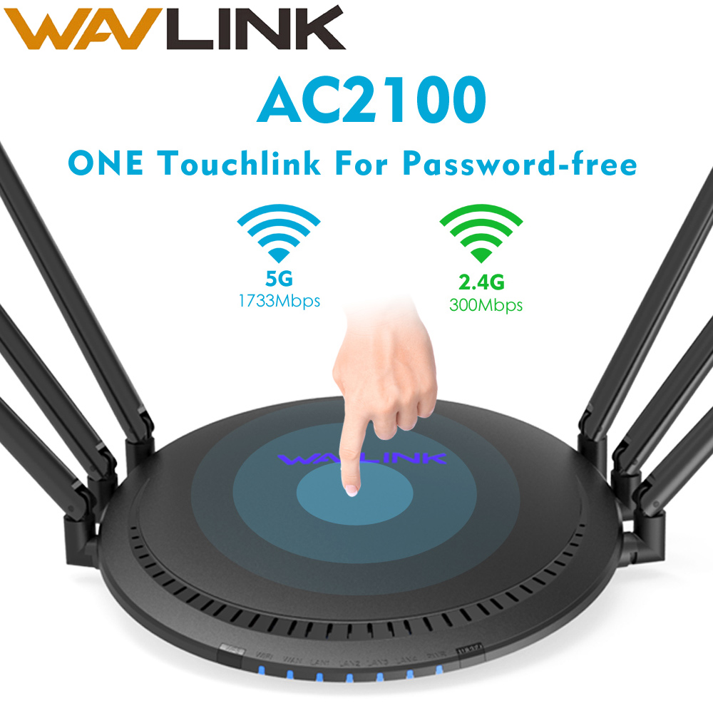 Wavlink Wifi Router Gigabit Dual-Band AC2100 Wireless Router Wifi Repeater 2.4G/5G Five Gigabit Ports 6*5dBi High Gain Antennas