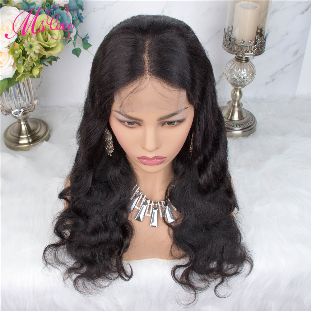 H3a95da144526431f94ba91dd28d6cf03d Ms Love 4X4 Lace Closure Human Hair Wigs Body Wave Brazilian Human Hair Wigs For Black Women Natural Color Non Remy Wig
