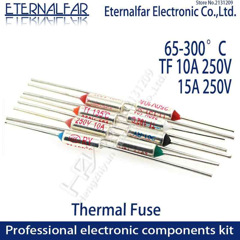 TF termal sigorta RY 10A 15A 250V sıcaklık sigorta 65C 85C 100C 105C 100C 120C 130C 152C 165C 185C 192C 200C 216C 240C 280C 300C