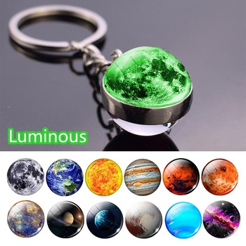 Glow In The Dark Solar System Planet Keyring Galaxy Nebula Luminous Keychain Moon Earth Sun Double Side Glass Ball Key Chain - discount item  50% OFF Fashion Jewelry