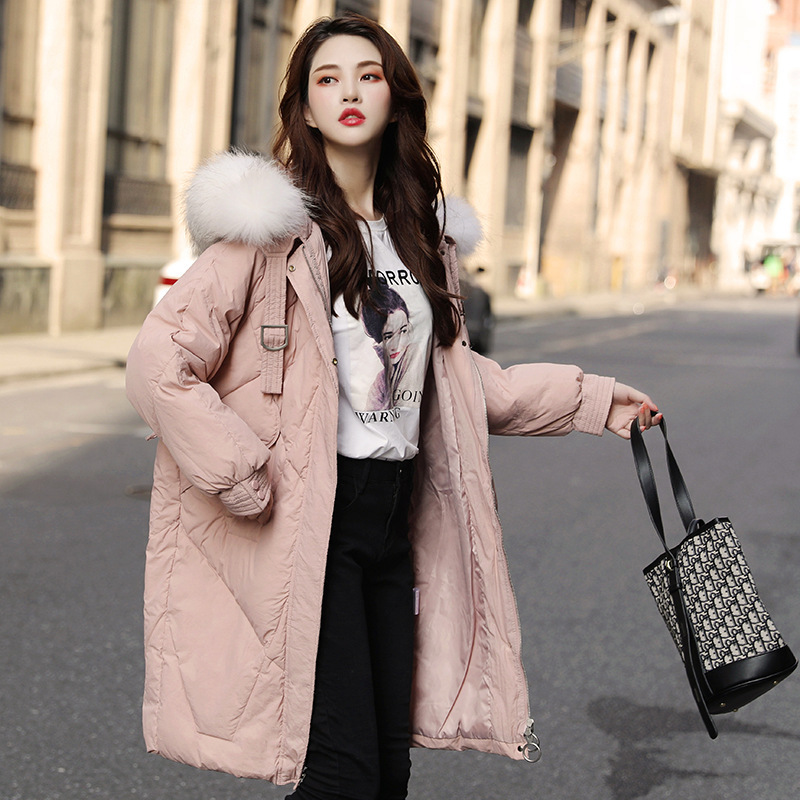 Medium and Long Style 2019 New Hat and Thickened Temperament Female Winter White Duck   Down     Coat   One Hair Substitute