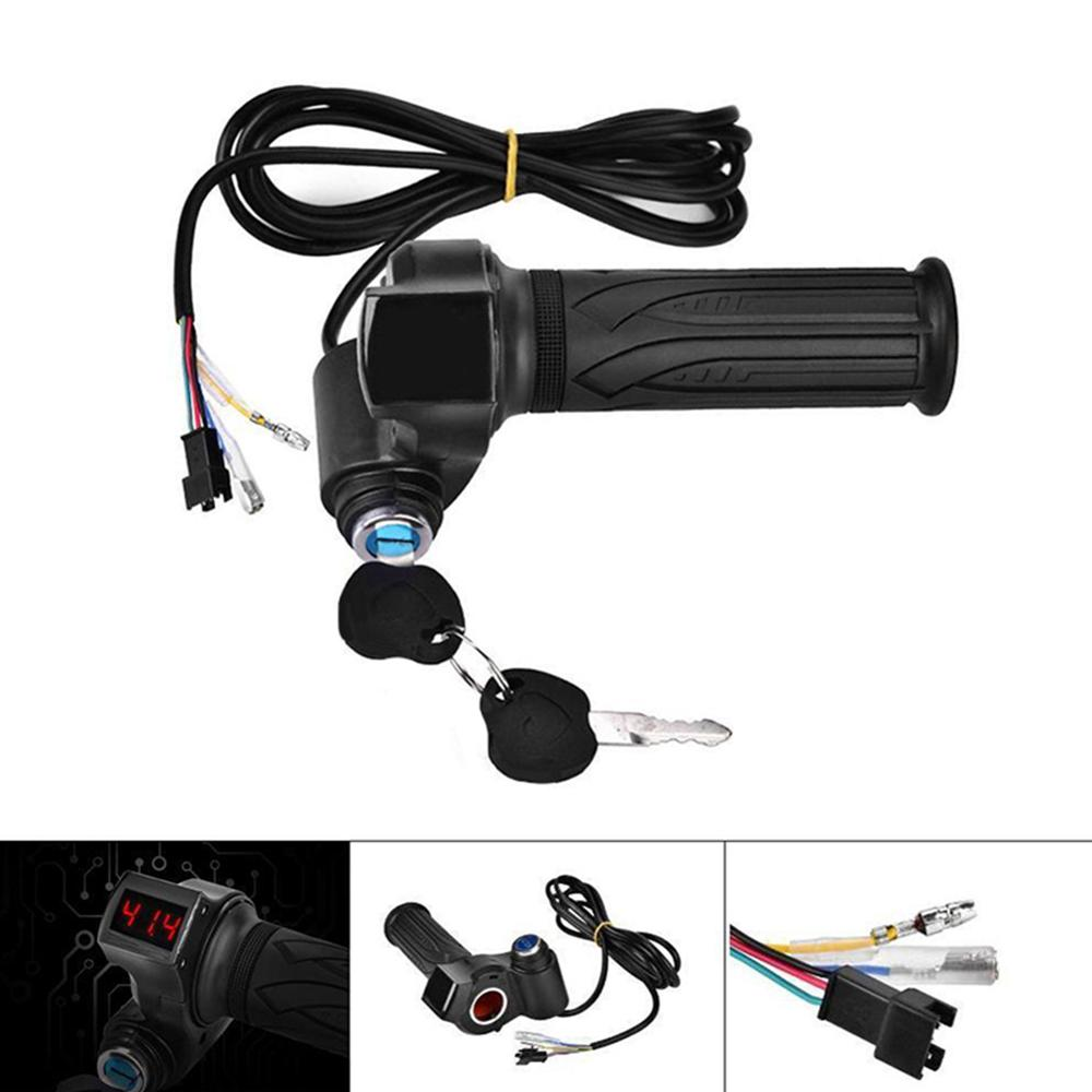 24/36/48/60/72V LED Digital Meter Electric Bike Scooter Throttle Grip Handlebar With Power Switch LED Display BicycleAccessories