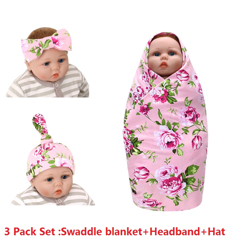 3pack Stretchy Knitted Baby Swaddle Wrap Blanket Gift Set for Newborn Infant 100% Cotton Floral Baby Girls Shower Gift  90*90cm