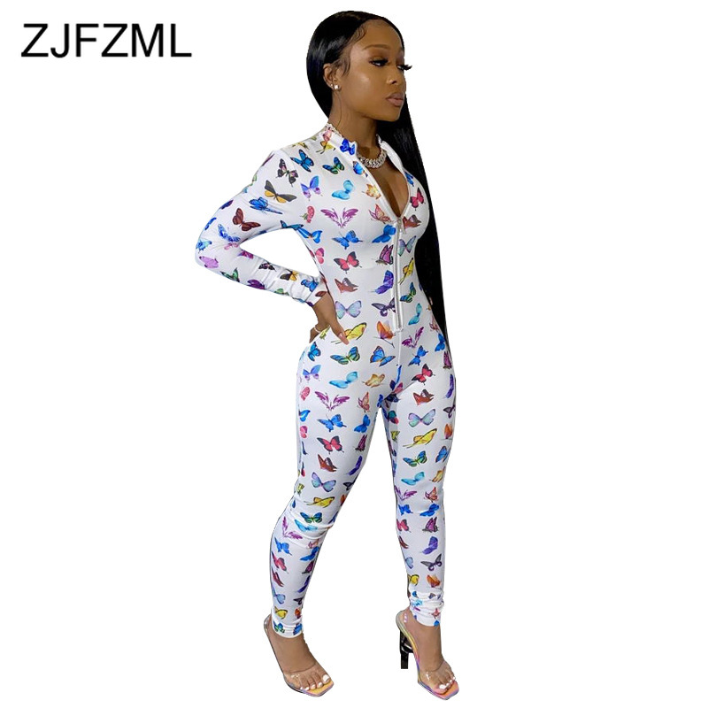Lips Printed Sexy Skinny Overall For Women Stand Collar Zipper Front Bodycon Rompers Party Club Long Sleeve One Piece Jumpsuit