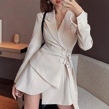 Vestido blazer senhoras mini festa moda senhoras vestido elegante senhoras um vestido cinto coreano vestido de manga longa 2021 nova marca maré
