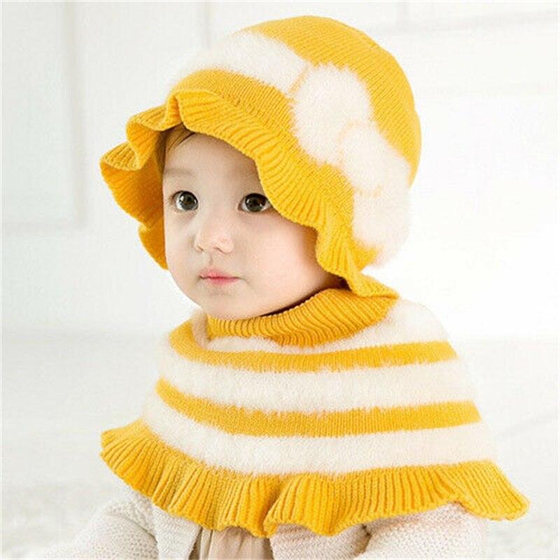 2Pcs Toddler Kids Girl Baby Infant Winter Autumn Plush Hat Cute Princess Cap +Shawl Child Scarf Hats