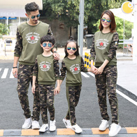 In laws Camouflage Suit Autumn Pure Cotton Family Suit Explosions Full Home Furnishing Two Piece Set for Three Students